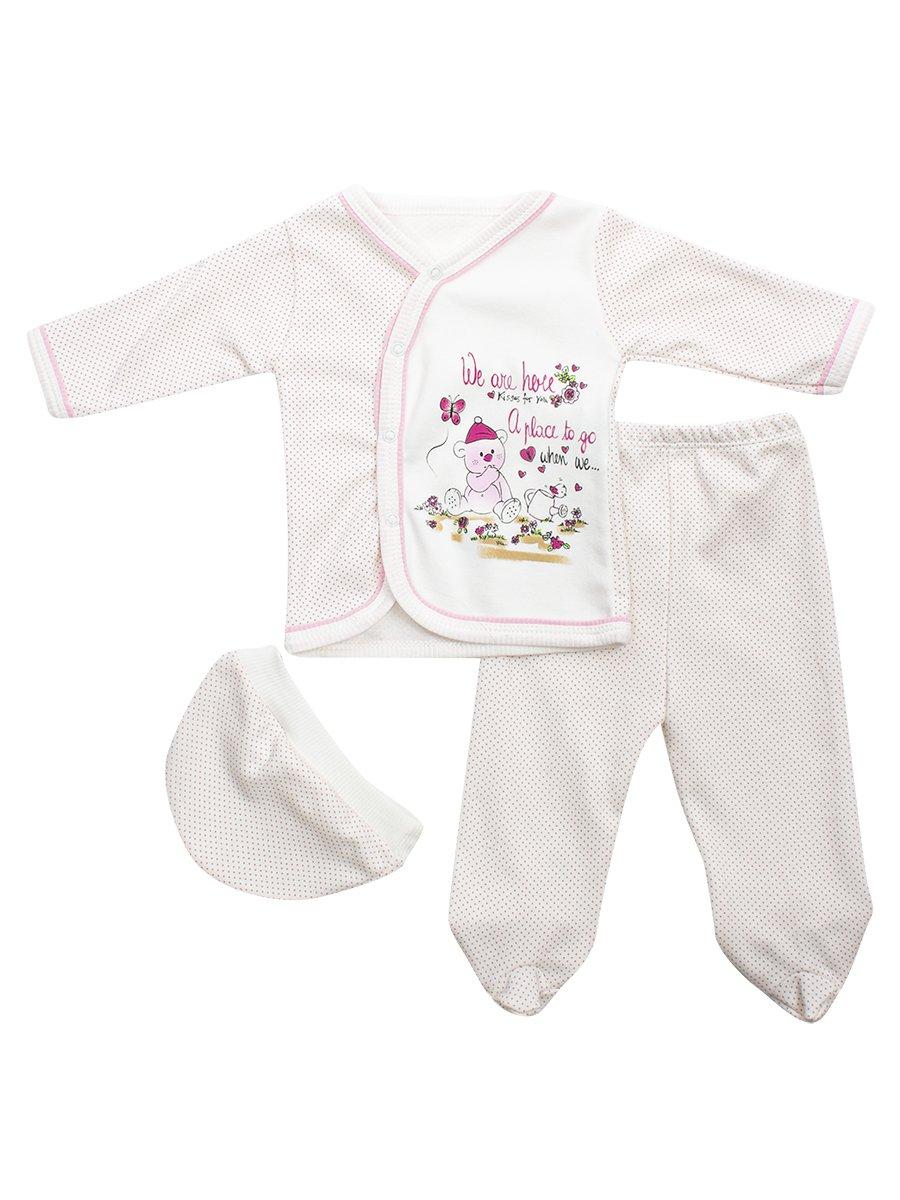 Комплект детский: кофточка, ползунки и шапочка, цвет: светло-розовый
