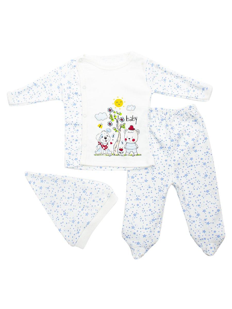Комплект детский: кофточка, ползунки и шапочка, цвет: голубой