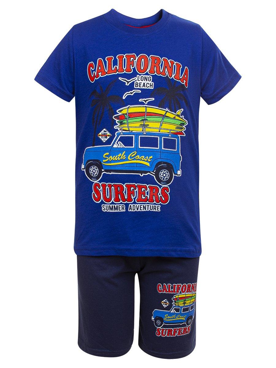 Комплект для мальчика: футболка и шорты, цвет: васильковый