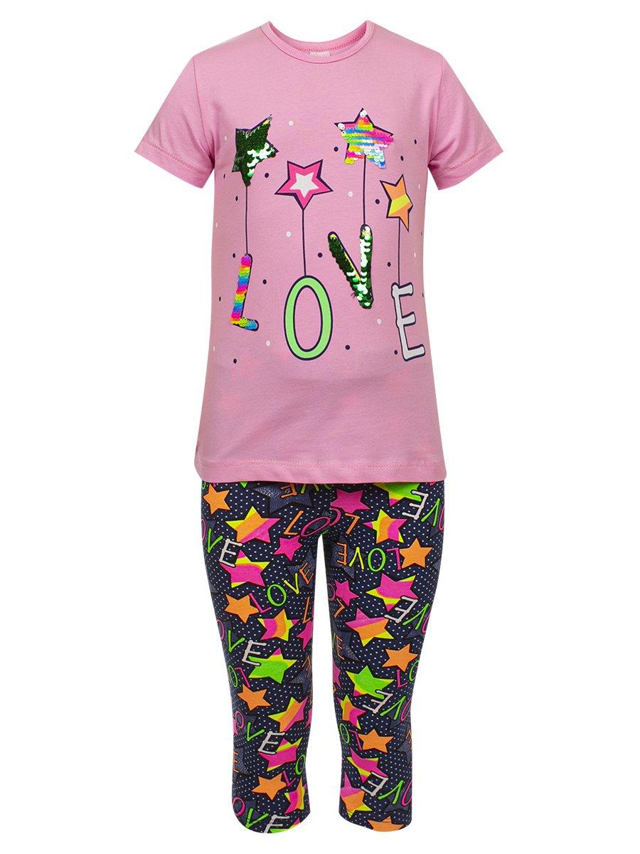 Комплект для девочки: футболка и капри, цвет: светло-розовый