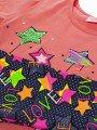 Комплект для девочки: футболка и капри, цвет: персиковый