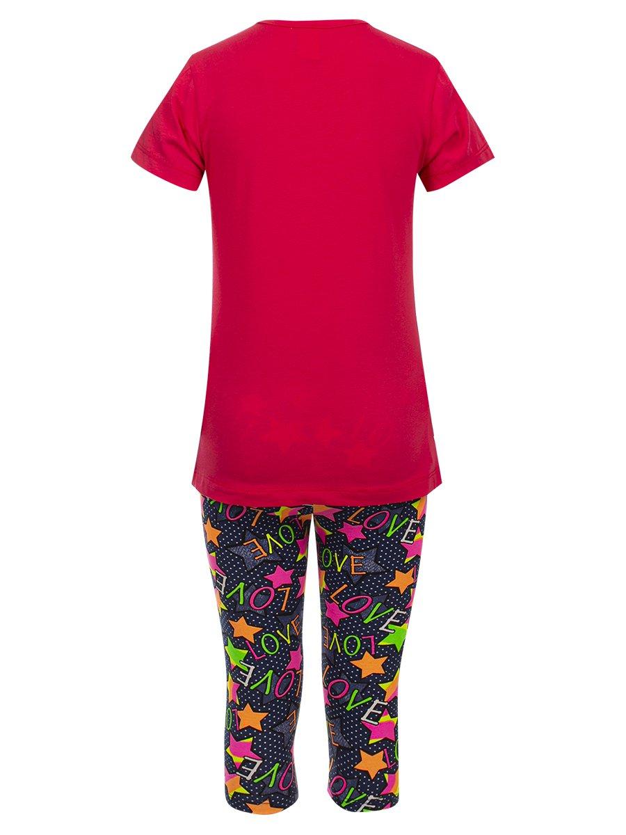 Комплект для девочки: футболка и капри, цвет: коралловый