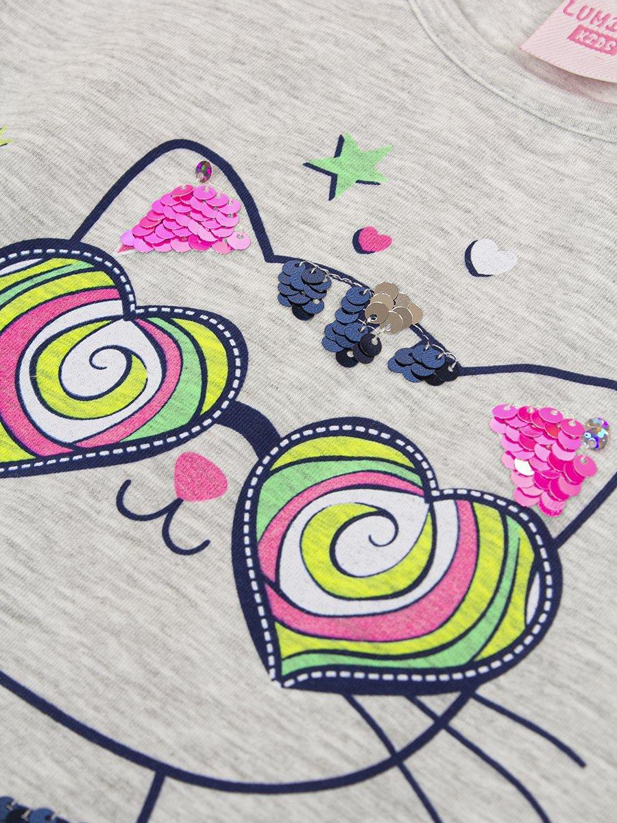 Комплект для девочки: футболка и капри, цвет: серый меланж