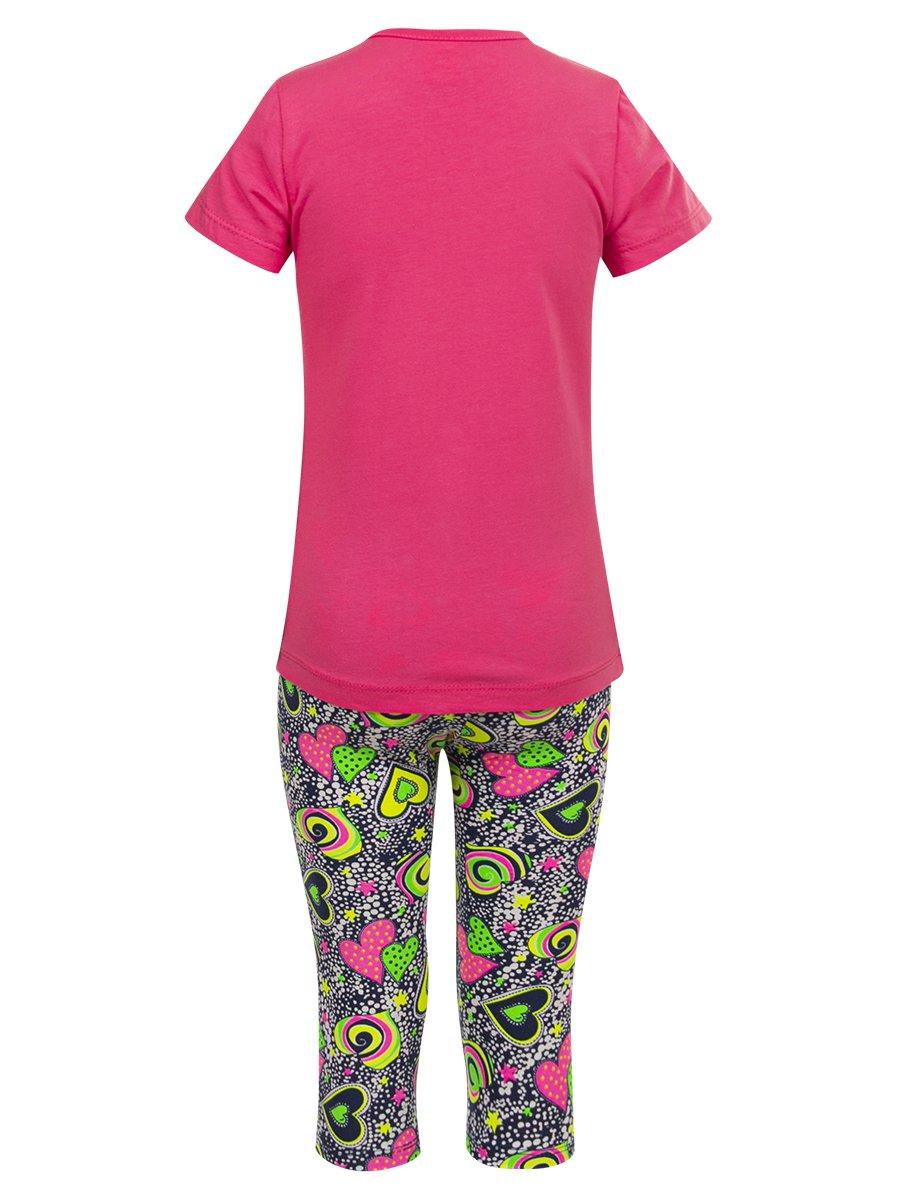 Комплект для девочки: футболка и капри, цвет: малиновый