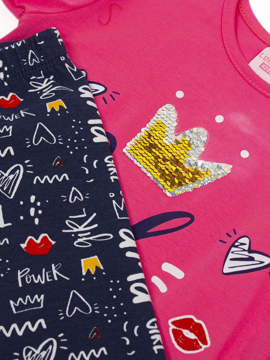 Комплект для девочки: футболка и капри, цвет: розовый