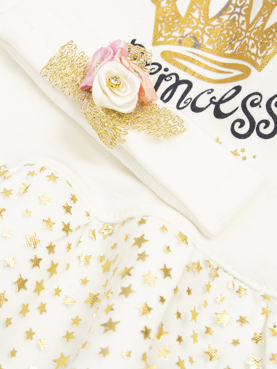 Комплект для девочки: туника, лосины, повязка на голову, цвет: молочный