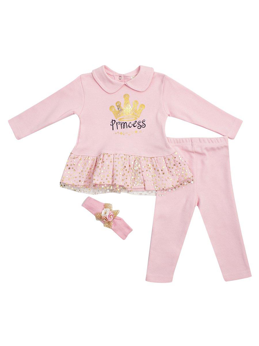 Комплект для девочки: туника, лосины, повязка на голову, цвет: светло-розовый