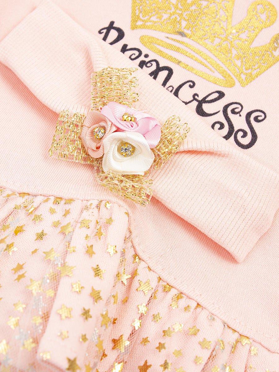 Комплект для девочки: туника, лосины, повязка на голову, цвет: пудра