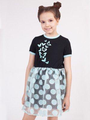 Платье из кулирки с лайкрой и органзы