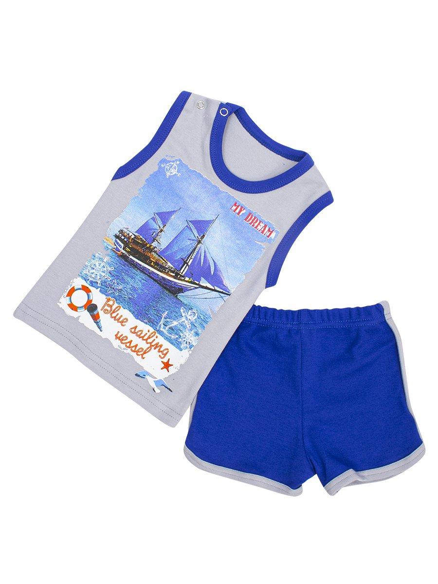 Комплект для мальчика: майка и шорты, цвет: серый