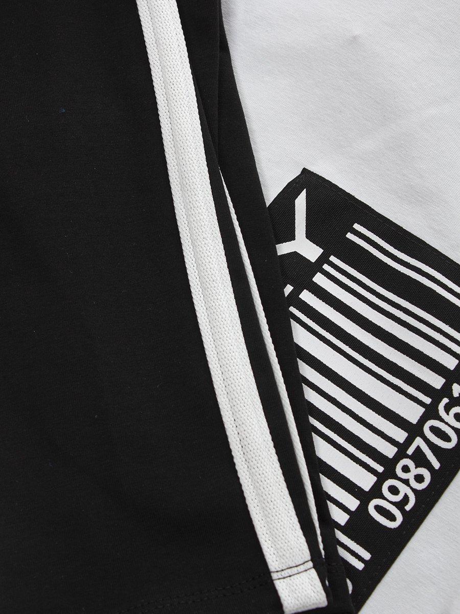 Костюм спортивный: лонгслив укороченный и бриджи облегающего силуэта, цвет: черный