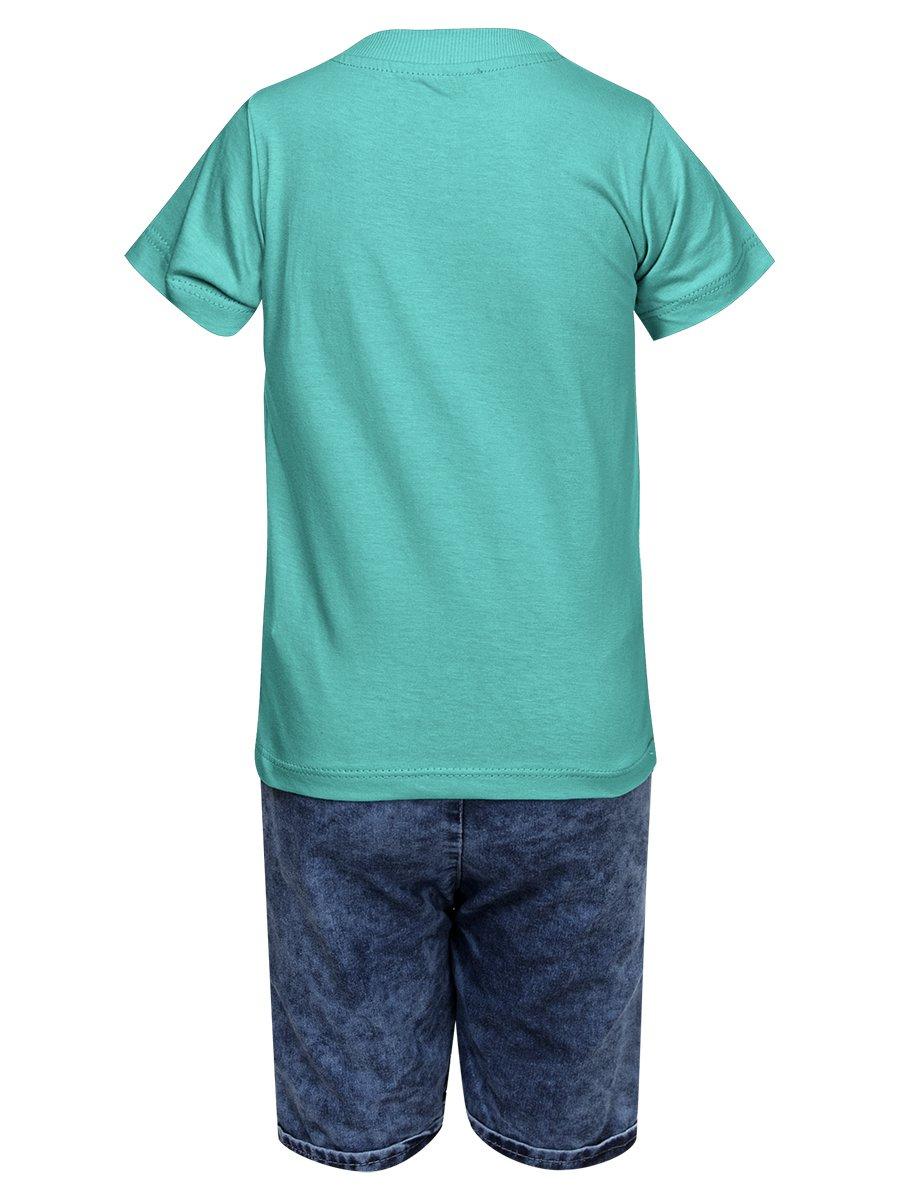 Комплект для мальчика: футболка и джинсовые шорты, цвет: изумрудный