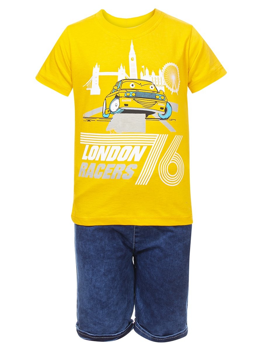 Комплект для мальчика:футболка и джинсовые шорты, цвет: желтый