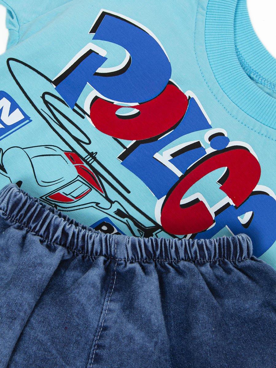 Комплект для мальчика:футболка и джинсовые шорты, цвет: бирюзовый