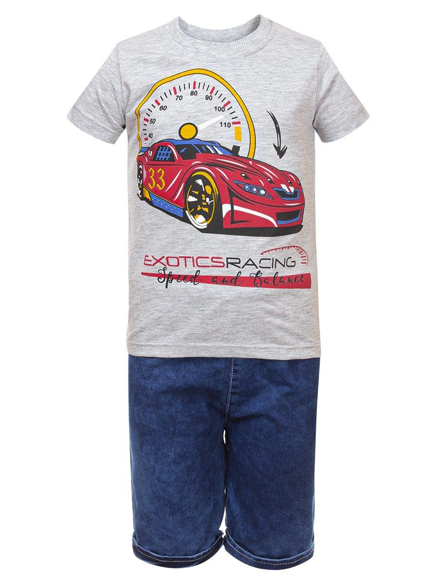 Комплект для мальчика:футболка и джинсовые шорты, цвет: серый