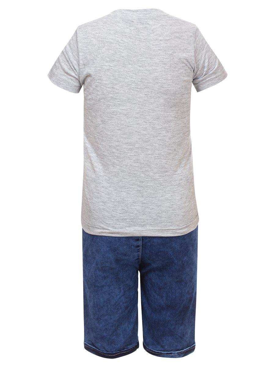 Комплект для мальчика: футболка и джинсовые шорты, цвет: серый