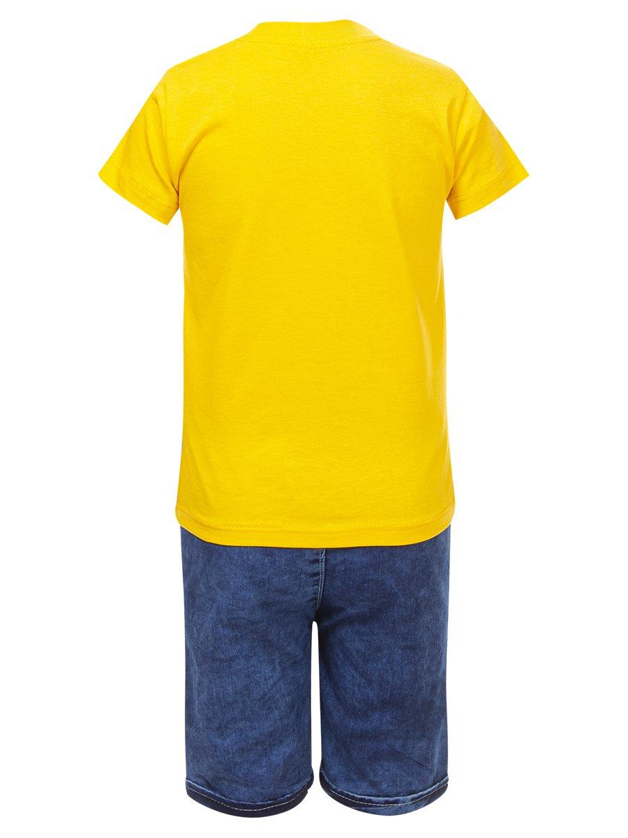 Комплект для мальчика: футболка и джинсовые шорты, цвет: желтый