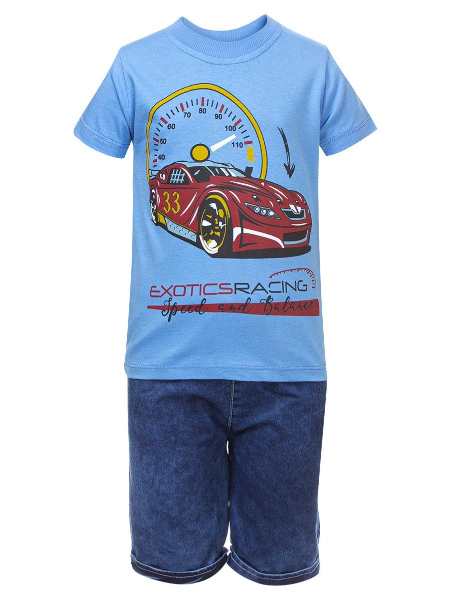 Комплект для мальчика:футболка и джинсовые шорты, цвет: голубой