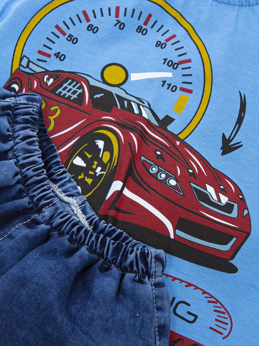 Комплект для мальчика: футболка и джинсовые шорты, цвет: голубой