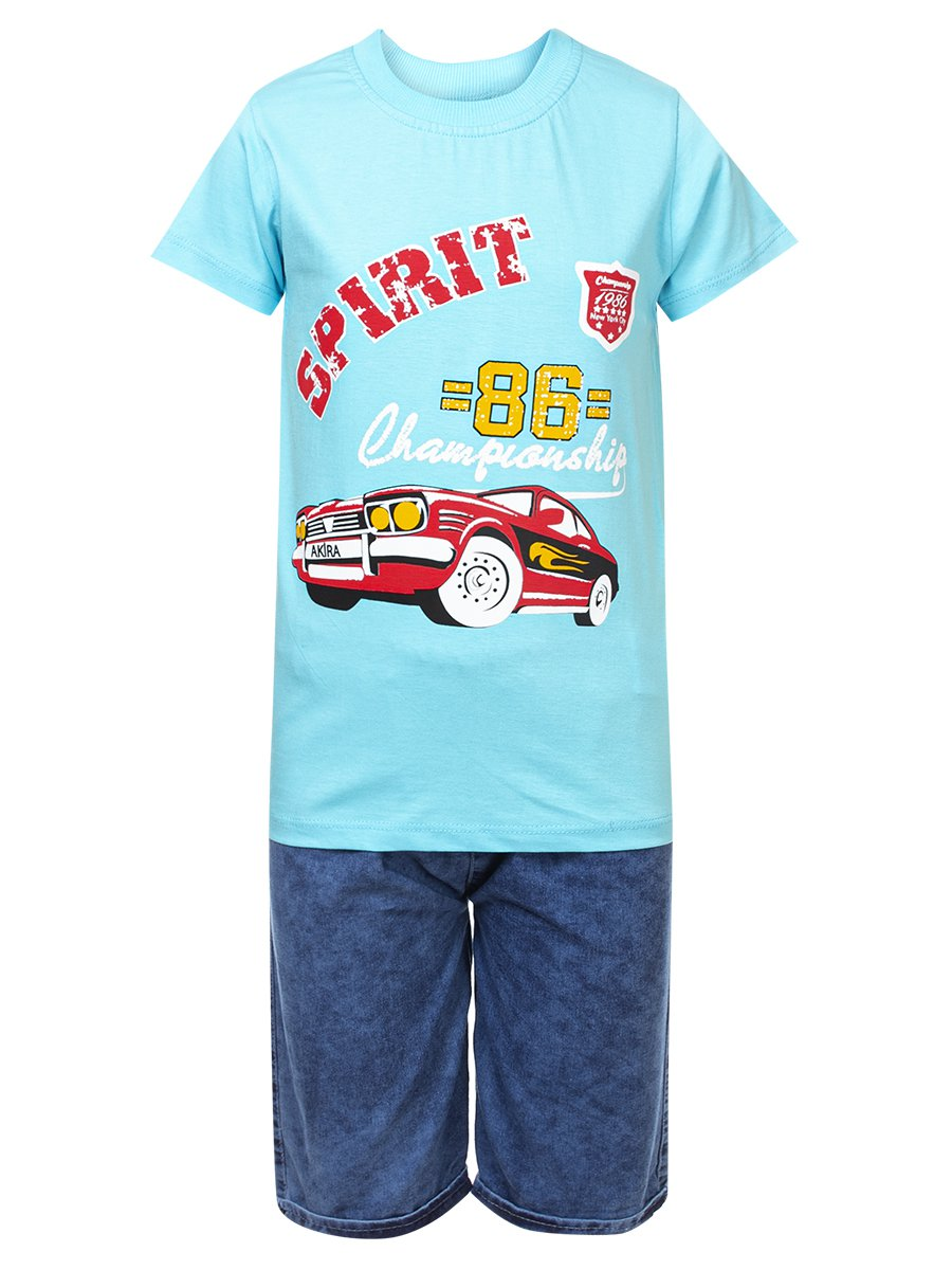 Комплект для мальчика: футболка и джинсовые шорты, цвет: бирюзовый