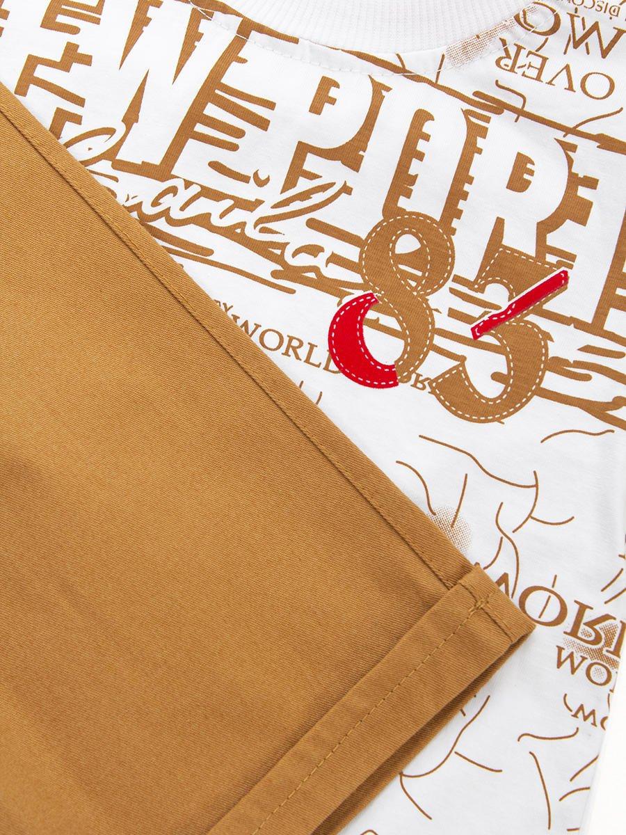 Комплект для мальчика:футболка и джинсовые шорты, цвет: бежевый