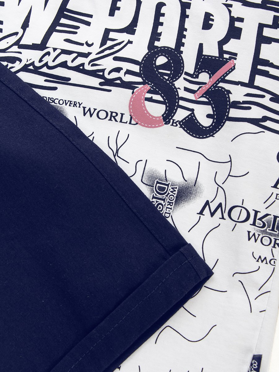 Комплект для мальчика:футболка и джинсовые шорты, цвет: темно-синий