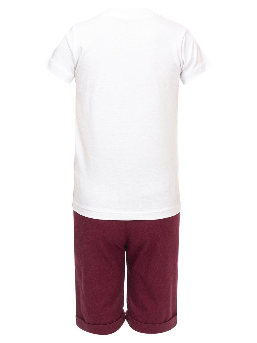 Комплект для мальчика:футболка и джинсовые шорты, цвет: бордовый