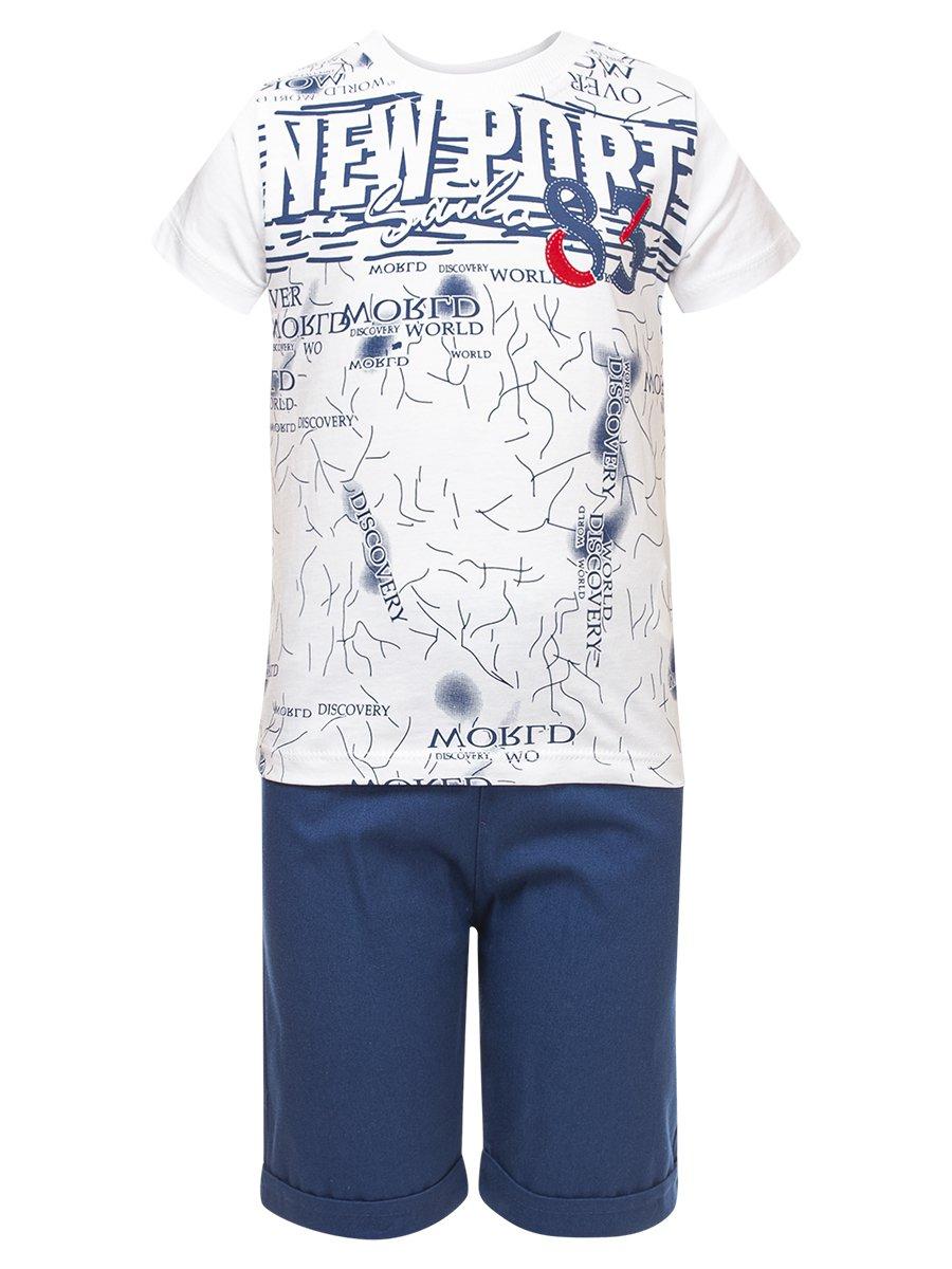 Комплект для мальчика:футболка и джинсовые шорты, цвет: деним