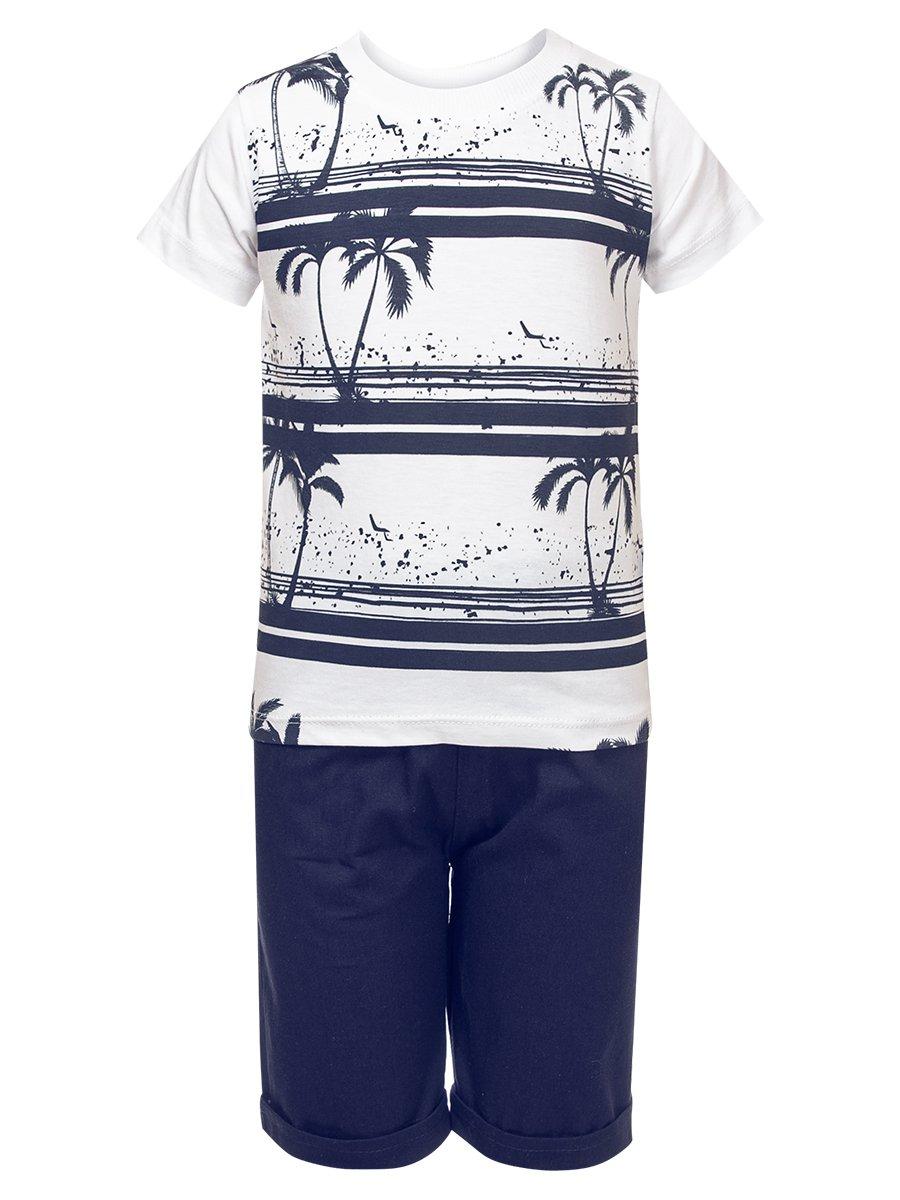 Комплект для мальчика: футболка и джинсовые шорты, цвет: темно-синий