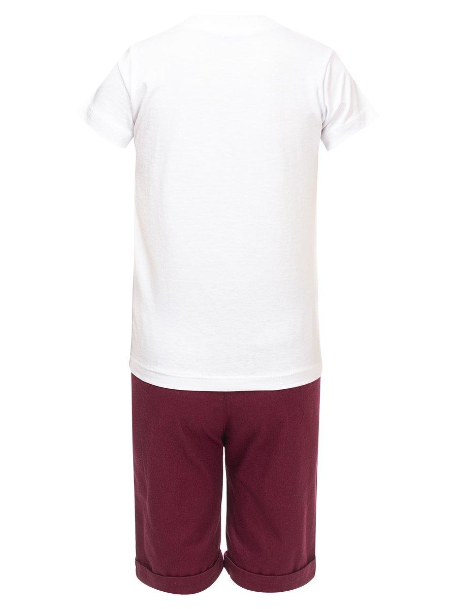 Комплект для мальчика: футболка и джинсовые шорты, цвет: бордовый