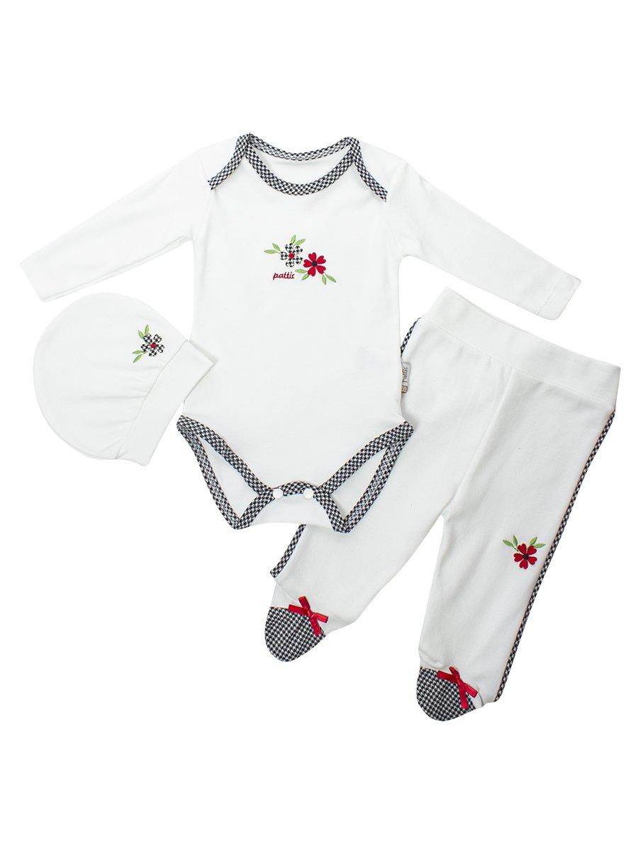 Комплект для девочки:боди,штанишки и шапочка, цвет: красный