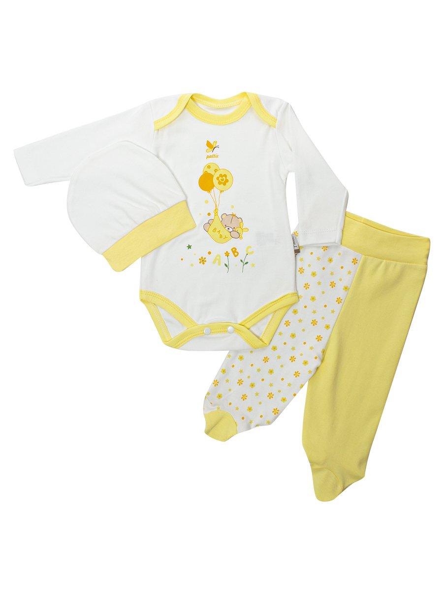 Комплект для девочки: боди, ползунки и шапочка, цвет: желтый