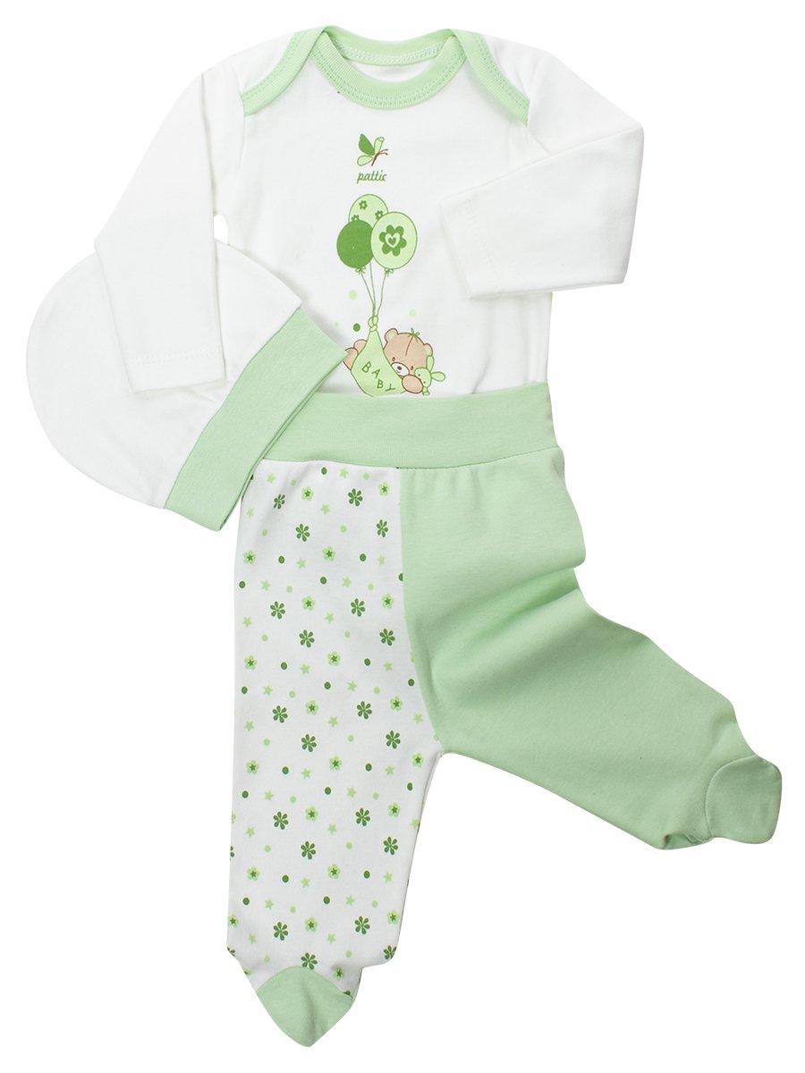 Комплект для девочки: боди, ползунки и шапочка, цвет: салатовый