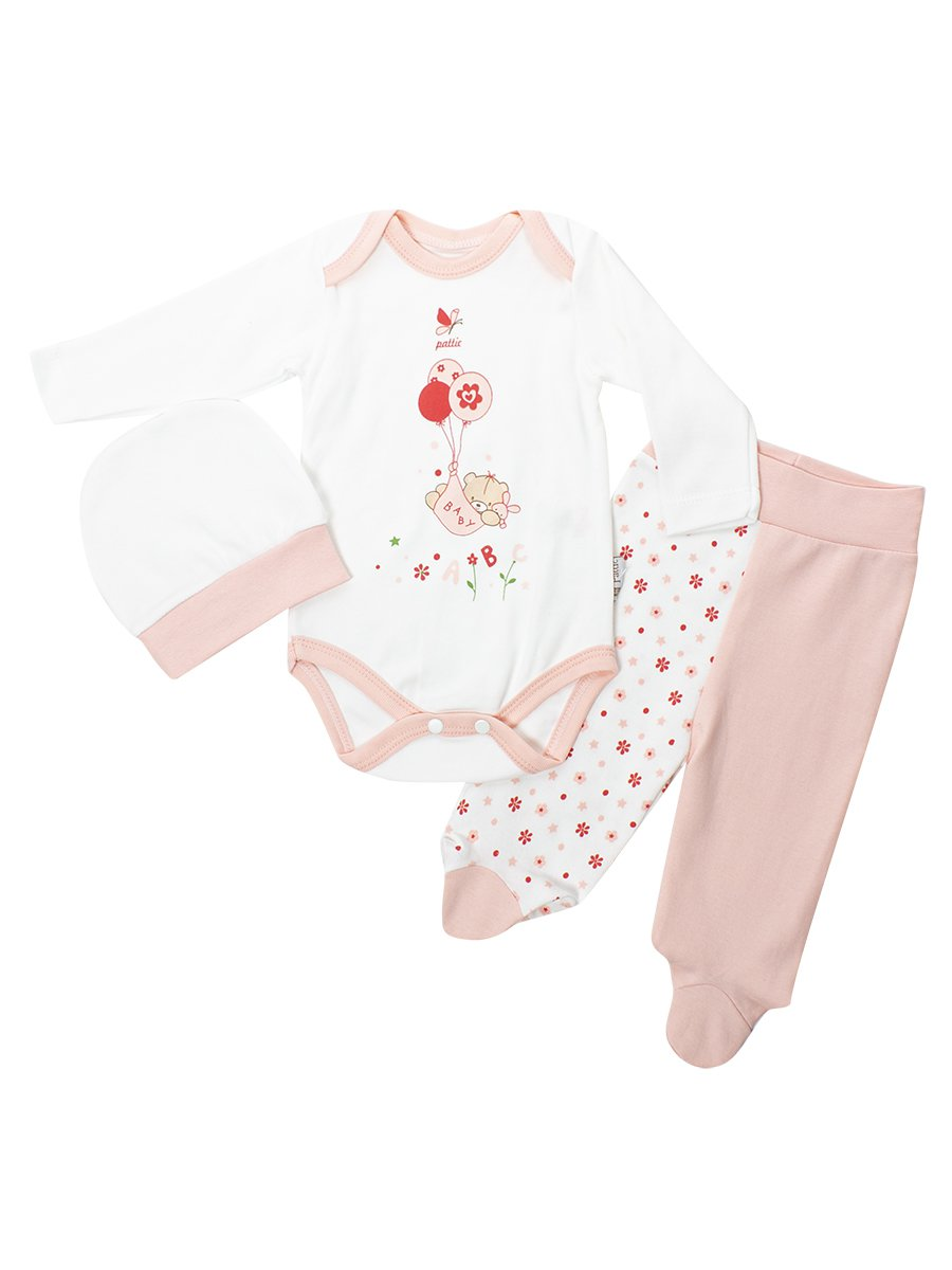 Комплект для девочки: боди, ползунки и шапочка, цвет: светло-розовый