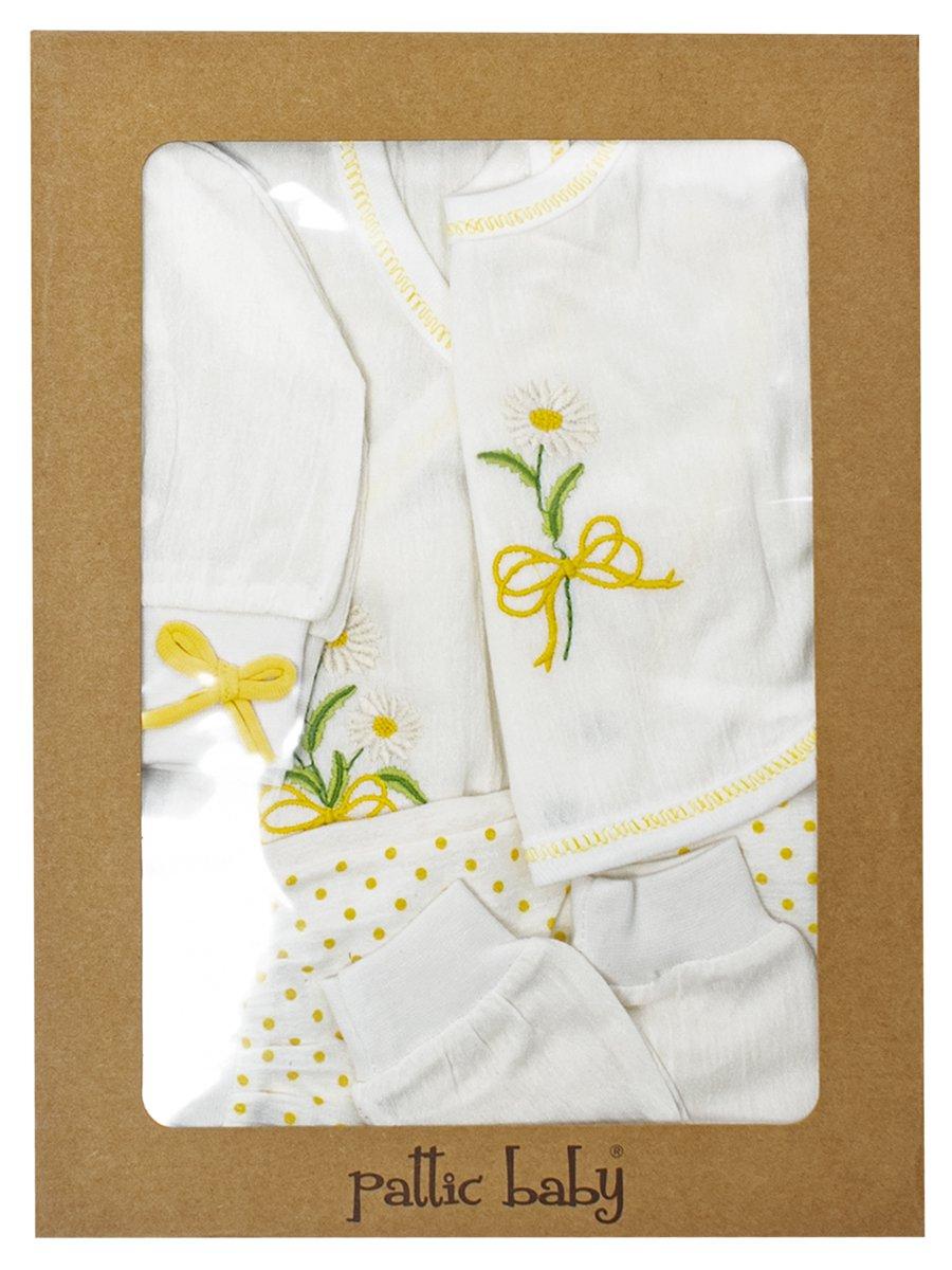 Набор для новорожденного: кофточка, штанишки, шапочка, слюнявчик, рукавички., цвет: желтый