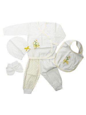 Набор для новорожденного: кофточка, штанишки, шапочка, слюнявчик, руковички.