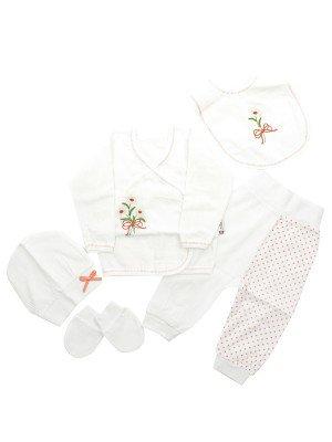 Набор для новорожденного: кофточка, штанишки, шапочка, слюнявчик, рукавички.