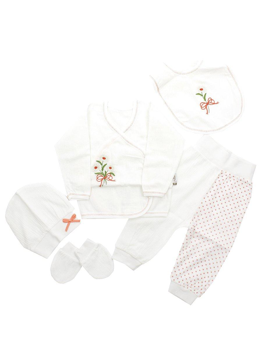 Набор для новорожденного: кофточка, штанишки, шапочка, слюнявчик, рукавички., цвет: розовый
