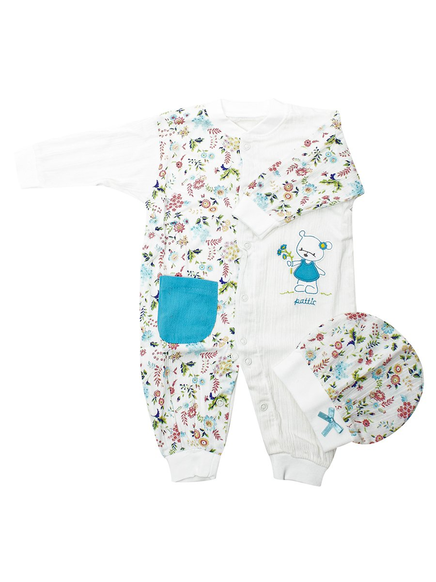 Набор для новорожденного: комбинезон и шапочка, цвет: бирюзовый