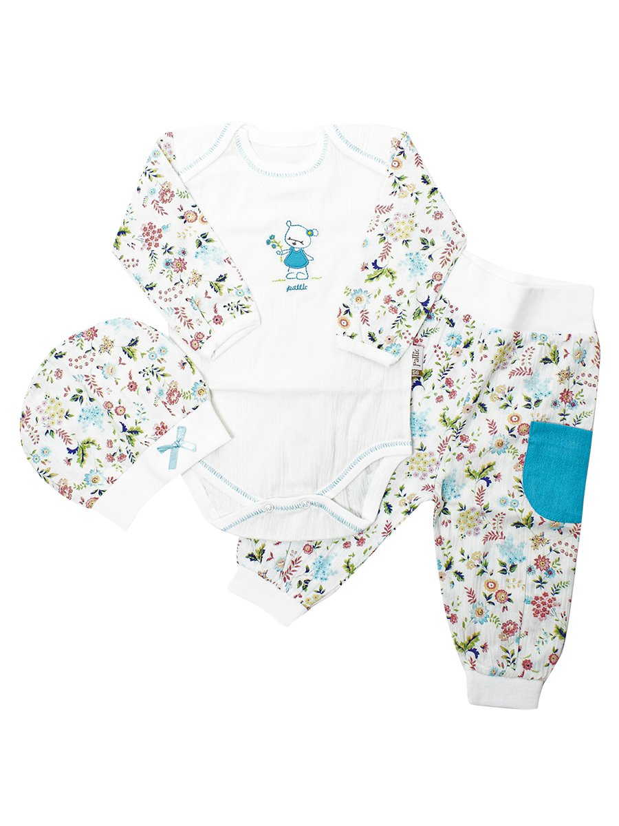 Набор для новорожденного: боди, штанишки и шапочка, цвет: бирюзовый