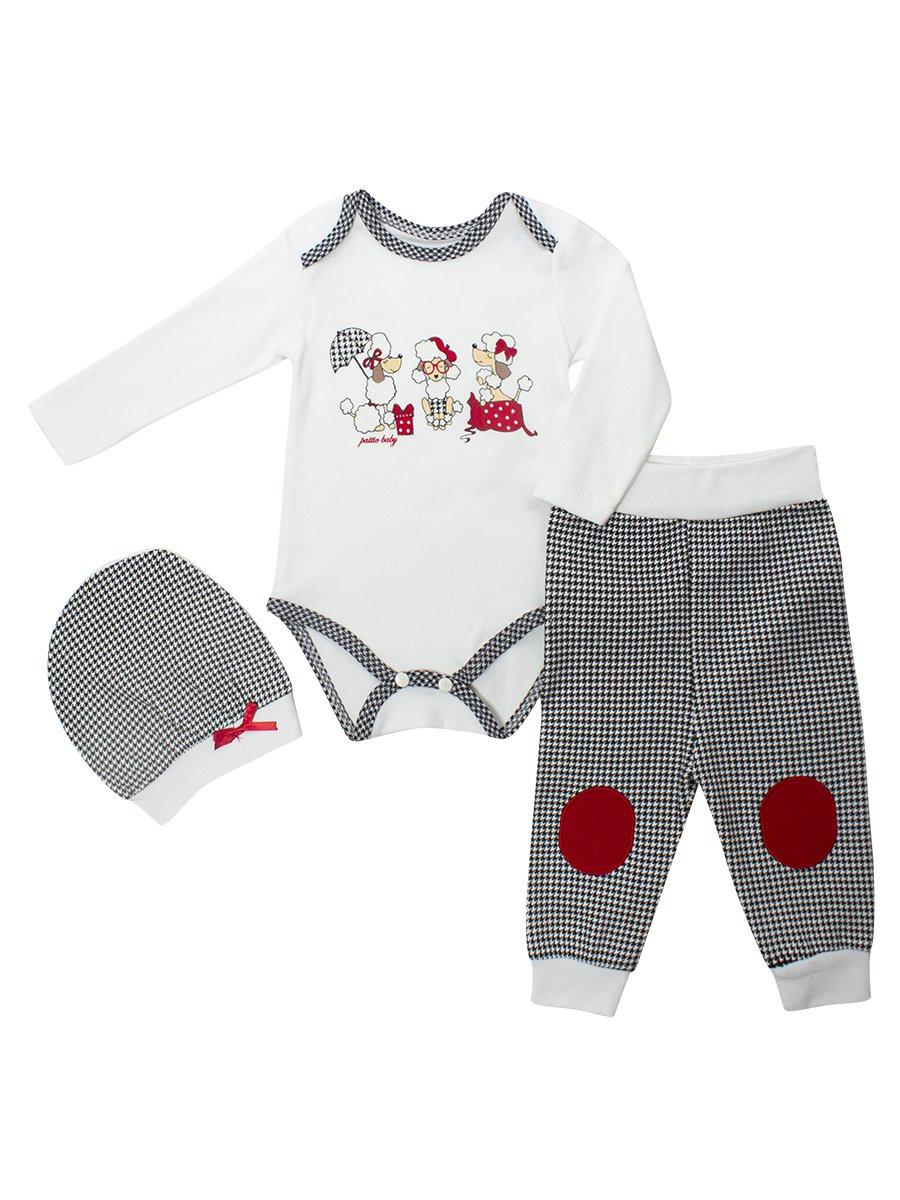 Комплект для девочки: боди, ползунки и шапочка, цвет: красный