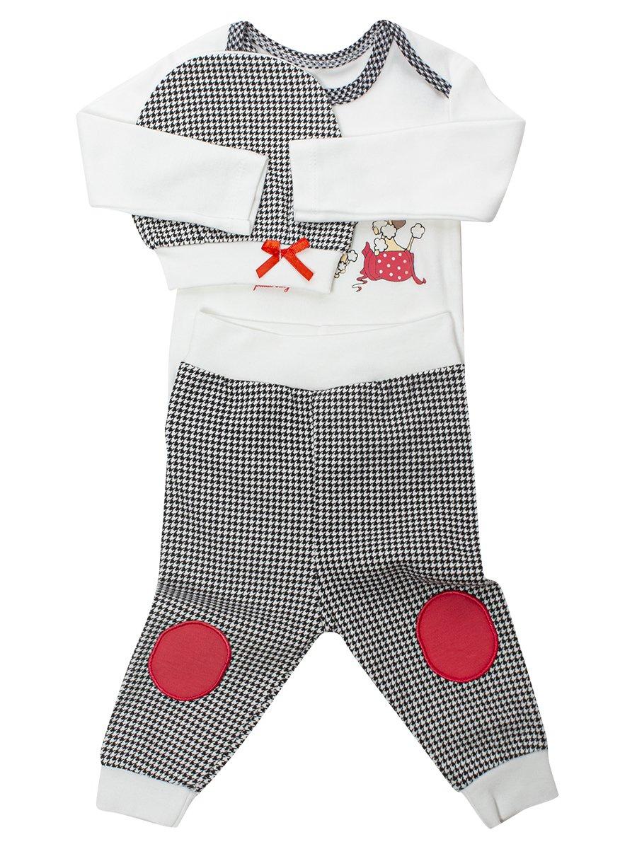 Комплект для девочки: боди, ползунки и шапочка, цвет: коралловый