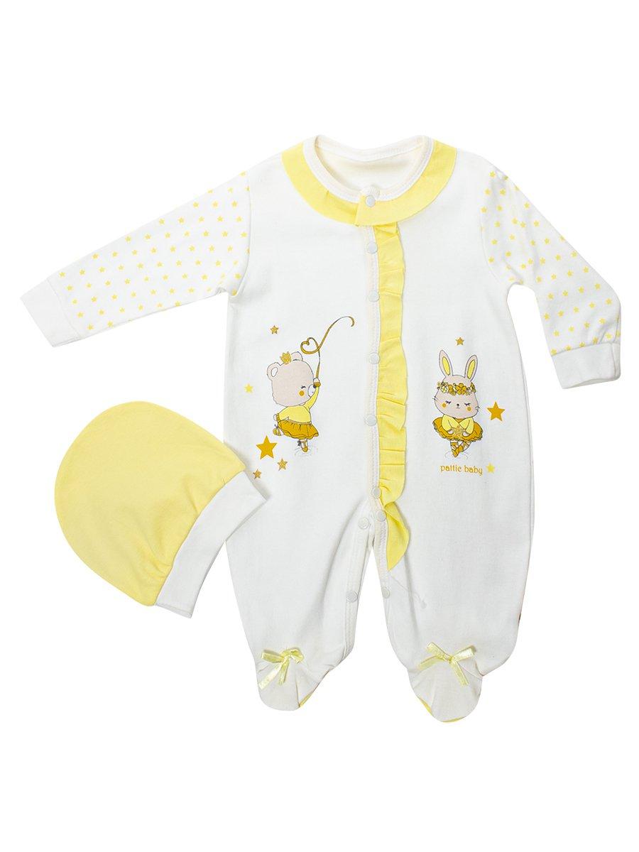 Комбинезон в комплекте с шапочкой для девочки, цвет: желтый