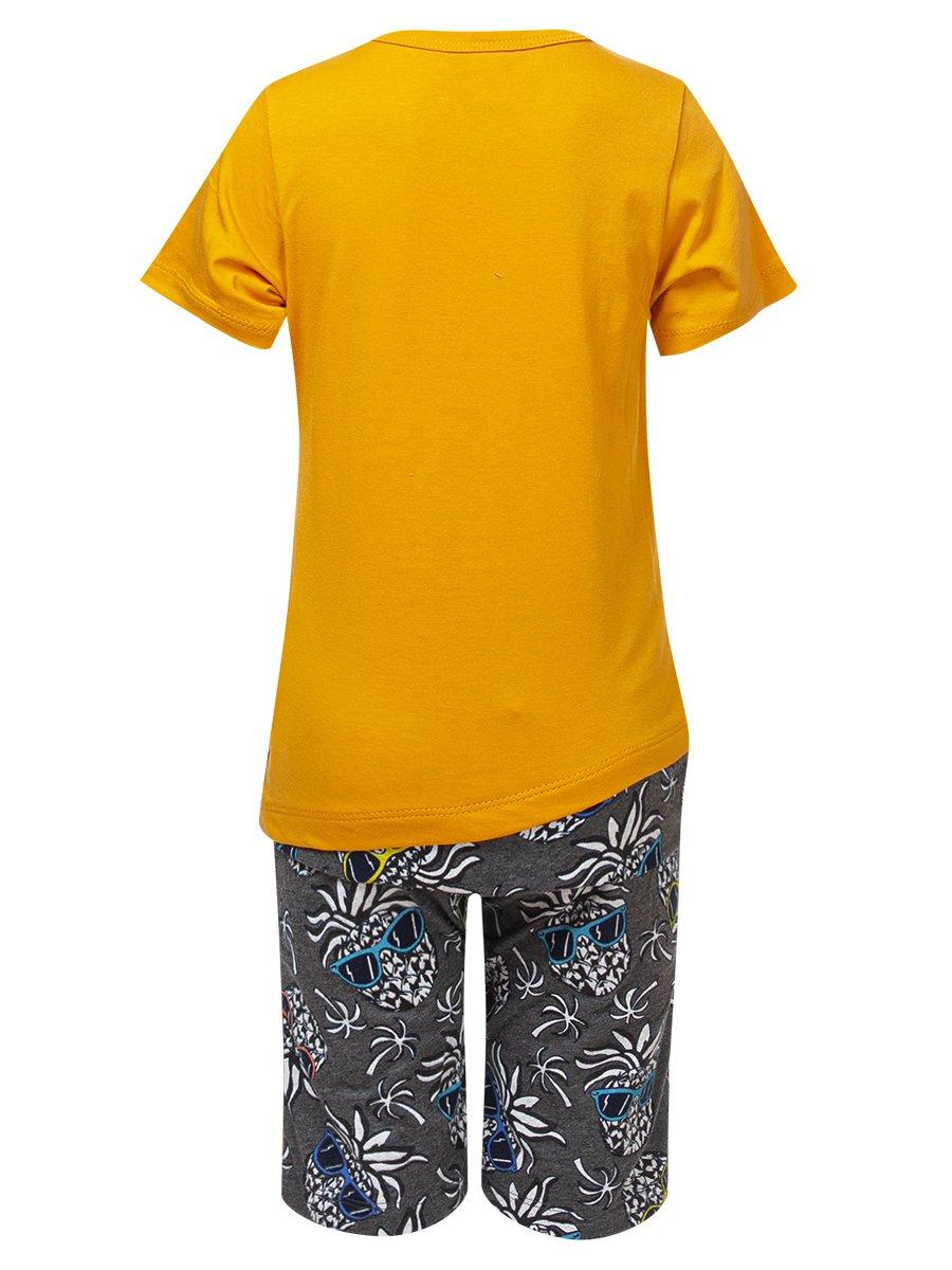 Комплект для девочки:футболка и шорты, цвет: горчичный
