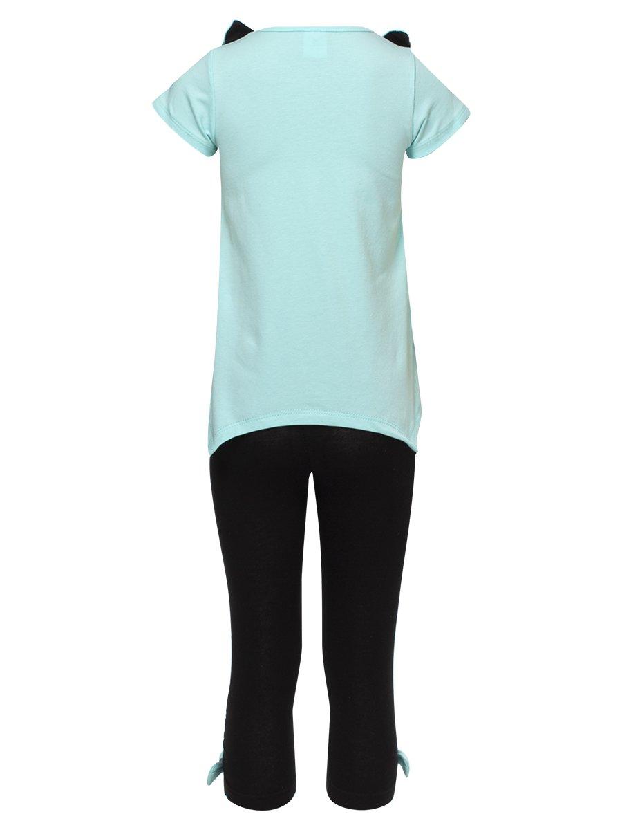 Комплект для девочки: футболка и капри, цвет: мятный