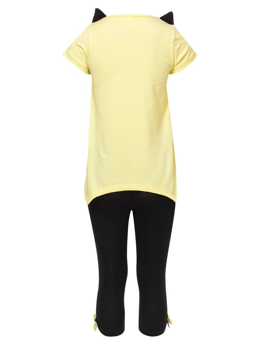 Комплект для девочки: футболка и капри, цвет: желтый