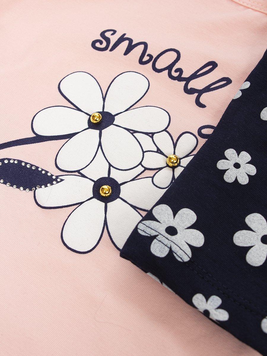 Комплект для девочки:футболка и капри, цвет: пудра