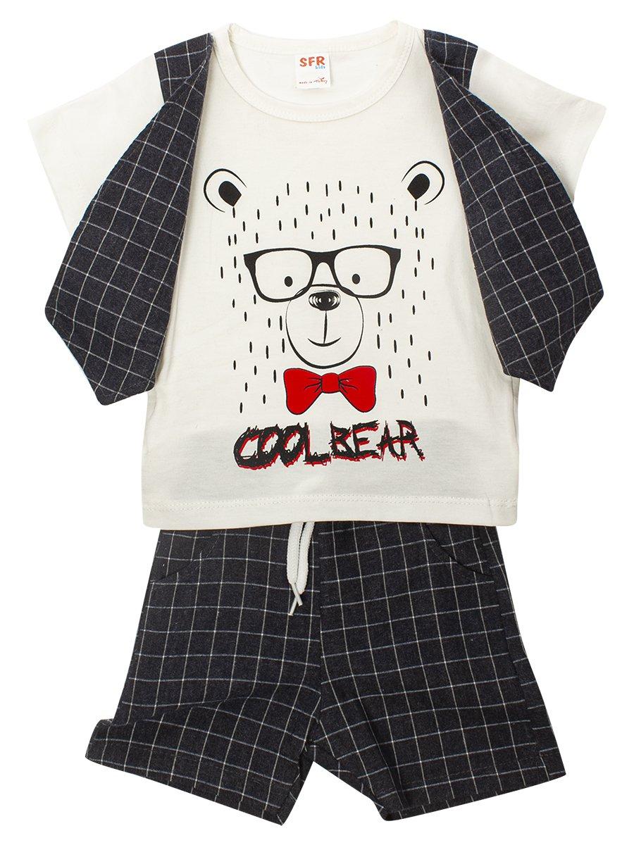 Комплект для мальчика: футболка и шорты, цвет: молочный