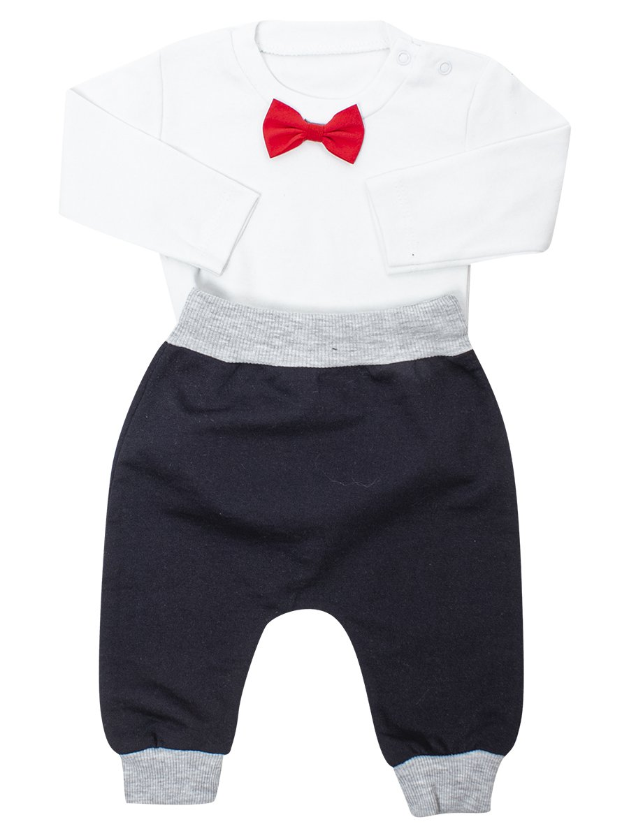 Комплект для мальчика:кофточка,штанишки и кардиган, цвет: серый меланж
