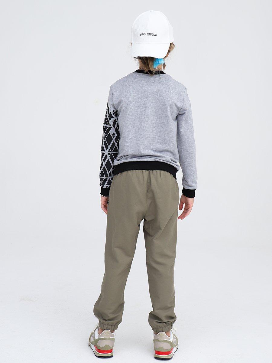 Брюки прямые со средней посадкой для мальчика, цвет: хаки